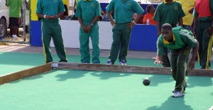 Akeem Isadore from the Barbados Defence Force cricket team makes his Bocce throw.