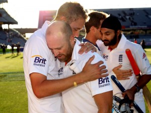 Fast bowler Stuart Broad (left) embraces Matt Prior after his epic match-saving century.