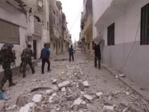 Battered Syrian street.