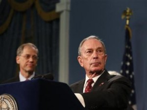 New York mayor Michael Bloomberg (right).
