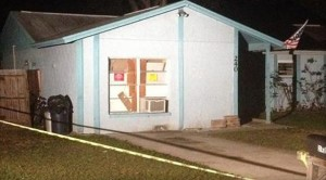 A 100-foot sinkhole opened up under this house on Faithway Drive in Seffner, Florida, trapping a man who was asleep in his bedroom.
