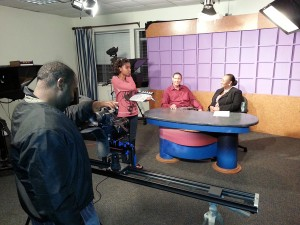 From left: Shane Holford, Chantelle Evelyn, Duane King and Rosemary Boyce on the set.