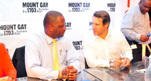 Minister Donville Inniss and Mount Gay's Raphael Grisoni.