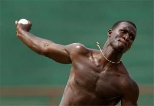 Darren Sammy in training.
