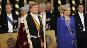 King Willem- Alexander and his wife Maxima during the swearing-in ceremony.