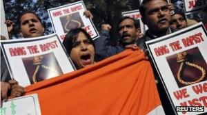 Protesting rape in India.