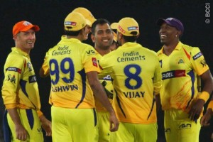 Chennai Super Kings celebrate their victory, including this year's top IPL wicket-taker Dwayne Bravo (right).