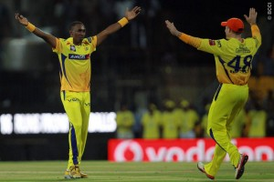 Dwayne Bravo (left) became the leading wicket-taker in this year's IPL today with 19.