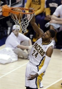 Pacers' Paul George slams home another two points.