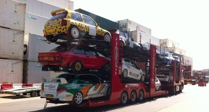 Some of the vehicles headed to Barbados.