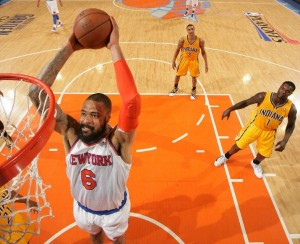 Knicks' centre Tyson Chandler goes for a slam dunk during last night's blow-out of Indiana Pacers.