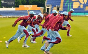 Some members of the West Indies team at training today in Cardiff. Tino Best is second left.