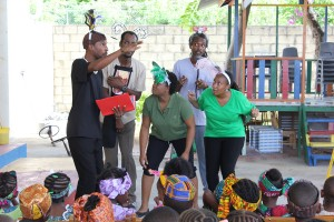 Members from the Barbados Association of Drama Educators performing a skit for the children.