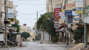 Deserted street after chemical attack.