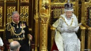Queen Elizabeth II delivers the throne speech.
