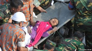Survivor Reshma being taken for medical attention.