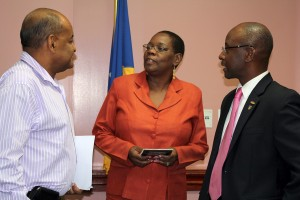 Cranston Browne, Ruth Blackman and Minister Stephen Lashley at the Crop-Over press conference.