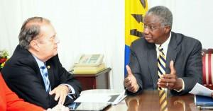 PM Freundel Stuart and Raymundo Rodraiguez Diaz, during a recent meeting.