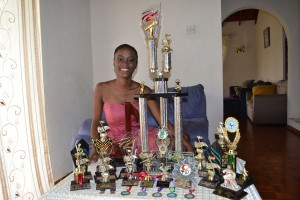 Among some of her trophies.