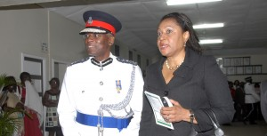 Commissioner Dottin and Justice Margaret Reifer at a recent police passing out parade.