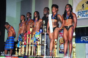 Dave Waldron with Island Fitness contestants.