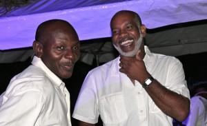 Band leader Mackie Holder (left) and St. Joseph MP Dale Marshall at weekend launch.