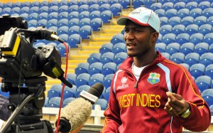 Darren Sammy talking to the media today.