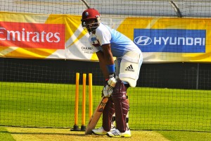 Dwayne Bravo in the nets today.