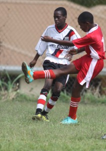 St. Stephen's Raheem Holligan (in red) scored the goal to put his school into the quarter- finals.