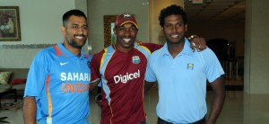 Tri-series captains (from left) MS Dhoni, Dwayne Bravo and Angelo Mathews.