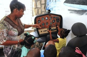 Taking control: Some of the little ones got a hand on the controls.