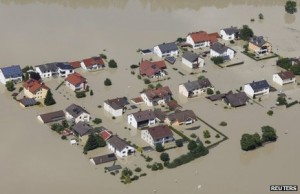 Flooded homes in Germany.