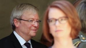 New Australian Prime Minister Kevin Rudd (left) and ousted PM Julia Gillard.