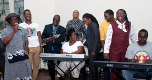 Crop-Over Gospel sponsor representatives got right into the mix singing along with Sister Marshall. Joining her from left John Yarde; James Wilson, event producer Sheldon Hope, LIME's Carolyn Williams-Gayle, Shamar Wilson, Cheryl Forde; Dwayne Norville and Paula Hinds (on keyboard).