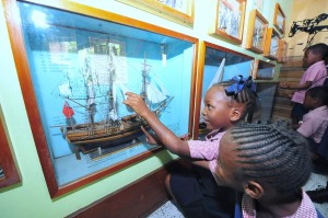 Fascinated by a replica in the Museum.