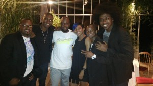 NexCyx in Cognac - The band and Wyclef Jean pause for a photo opportunity while out at dinner.