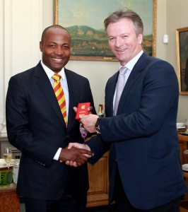 Brian Lara (left) receiving membership pass from Steve Waugh. (Picture by Clare Skinner)