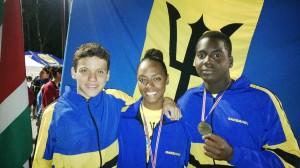 Gold medal winners (from left) Luis Sebastian Weekes, Zabrina Holder and Damon St. Prix