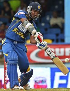 Kumar Sangakkara's unbeaten 90 helped set up Sri Lanka's 39-run win.