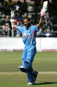 Shikhar Dhawan celebrates reaching his third ODI century.
