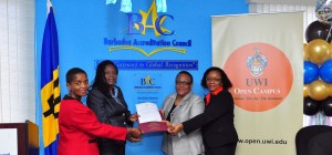 Valda Alleyne of Barbados Accreditation Council (left), Chairman of BAC Yvonne Walkes, Professor Hazel Simmons-McDonald and Professor Vivienne Roberts.