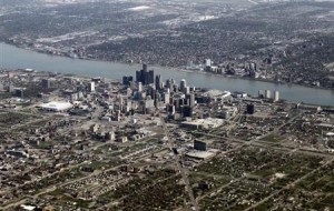 Aerial view of Detroit.
