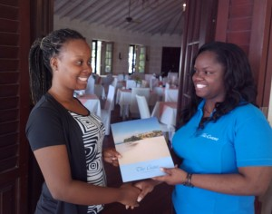 Honesty (left) accepting prize from the Crane's Sharita Jordan.