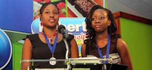 Second place in Junior Duelling Challenge 2013 was The St. Michael School duo of Marissa Mason (left) Danielle Deane (right), who made a presentation about their prize trip to Grenada.