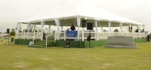 The covered stage supplied by DB Productions for the funeral.