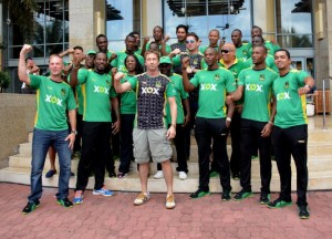 The Jamaica Tallawahs with Andre Russell (right rear), Gerard Butler (front, third left) and captain Chris Gayle (front, second left) among the line-up.