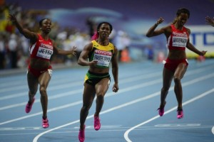 Shelly-Ann Fraser-Pryce storming to victory in the 100m final today.