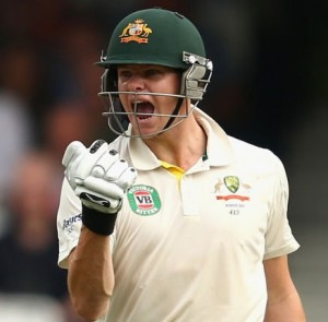 Steve Smith celebrating his maiden Test ton today.