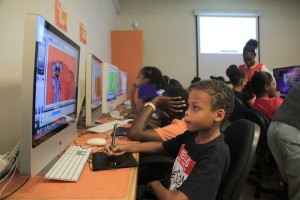 Campers perfecting their skills in animation.