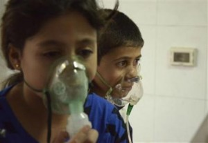 Young victims of the chemical attack.